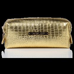 Kosmetiktasche mit Krokodilleder Muster Gold Klein (R24393)