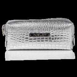 Trousse de toilette argentée, motif peau de crocodile, petit format (R24393)