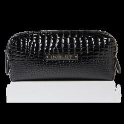 Trousse de toilette noire, motif peau de crocodile, petit format (R24393)