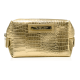 Trousse de toilette dorée, motif peau de crocodile (R24245B)
